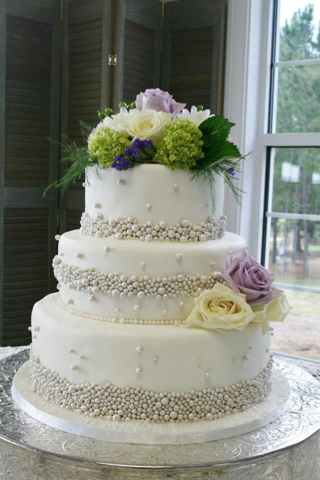 3 tier white wedding cake 3 tiered white wedding cake with silver fondant pearls and 10356