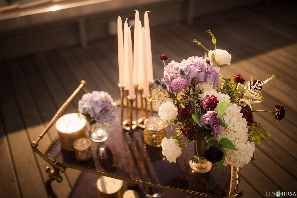 Purple And Gold Wedding Florals And Cocktail Hour Decor The