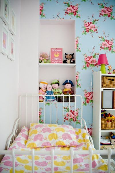 pink blue girls room cath kidston millie floral wallpaper white swedish kids bed - Floral Wallpaper Bedroom Ideas