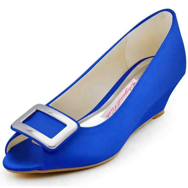 Blue Wedge Wedding Shoes Womens Wedding Shoes