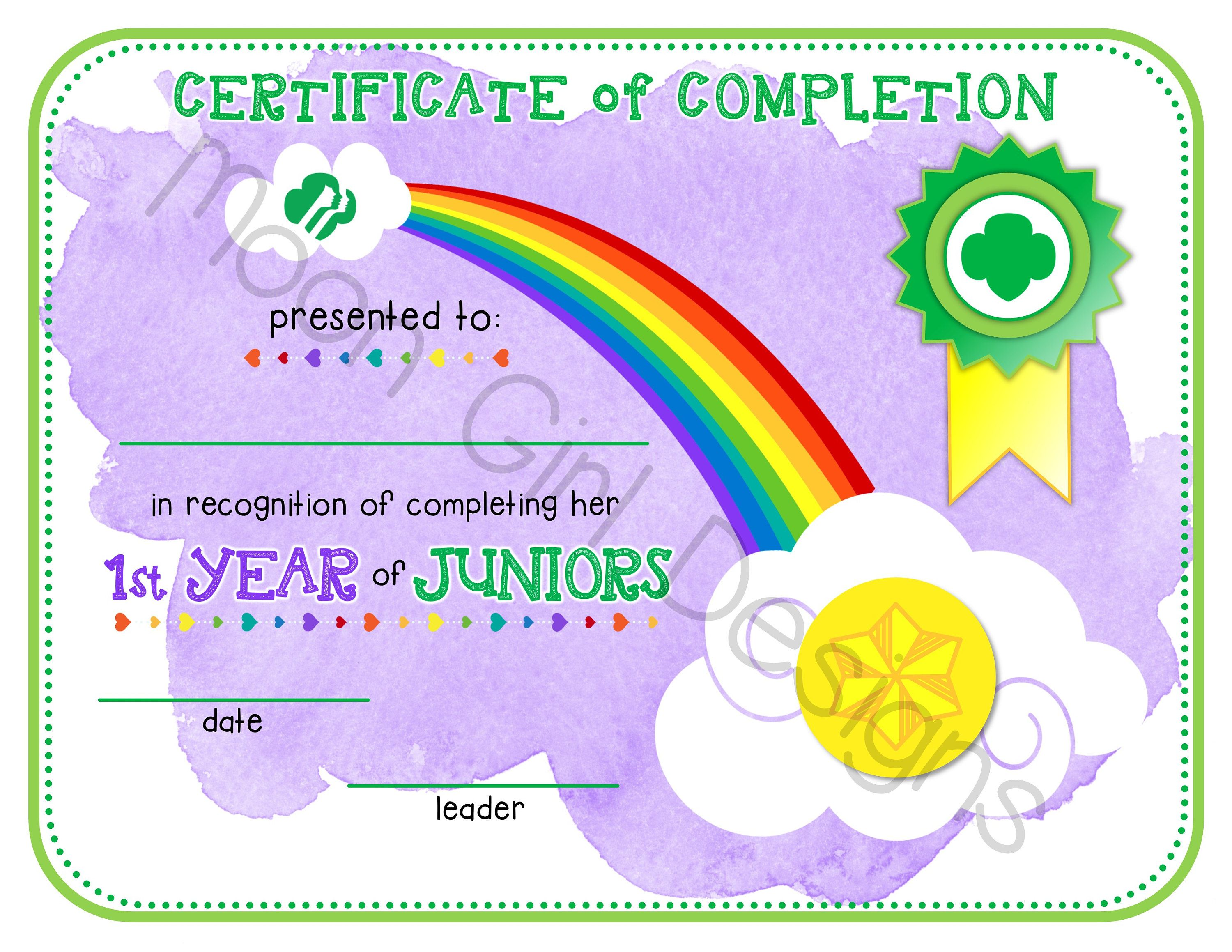 Junior Girl Scout 1st Year Completion Certificate Template