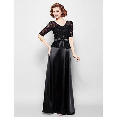 Sheath/Column+Plus+Size+/+Petite+Mother+of+the+Bride+Dress+-+Floor-length+Half+Sleeve+Lace+/+Stretch+Satin+–+USD+$+119.99
