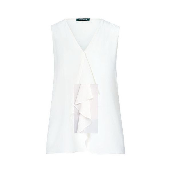 Ralph Lauren Lauren Ruffled Crepe Blouse (585 NOK) ❤ liked on Polyvore featuring tops, blouses, sleeveless blouse, ruffle top, flounce tops, crepe blouse and white blouses