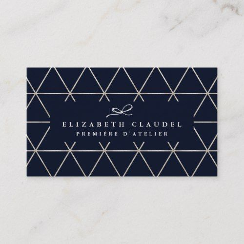 Modern Geometric Dark Blue Faux Silver Elegant Bow Business Card Zazzle Com Foil Business Cards Business Card Modern Geometric