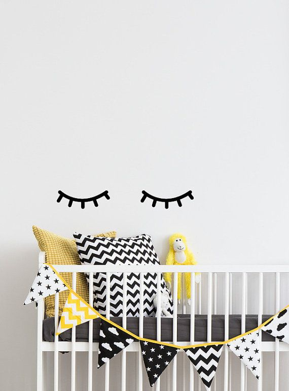 eyelash decor, sleepy eyes wall decal, closed eyes decals, sleeping