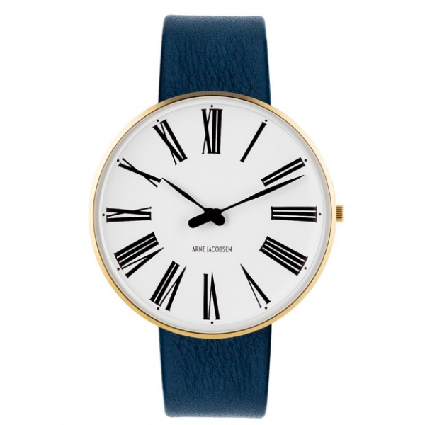 Buy The Arne Jacobsen Roman Watch White Dial, Gold Case, Blue Leather | Questo Design
