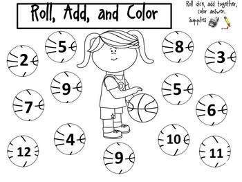 Roll, Add, and Color the Basketball (Focus Numbers: 2-12