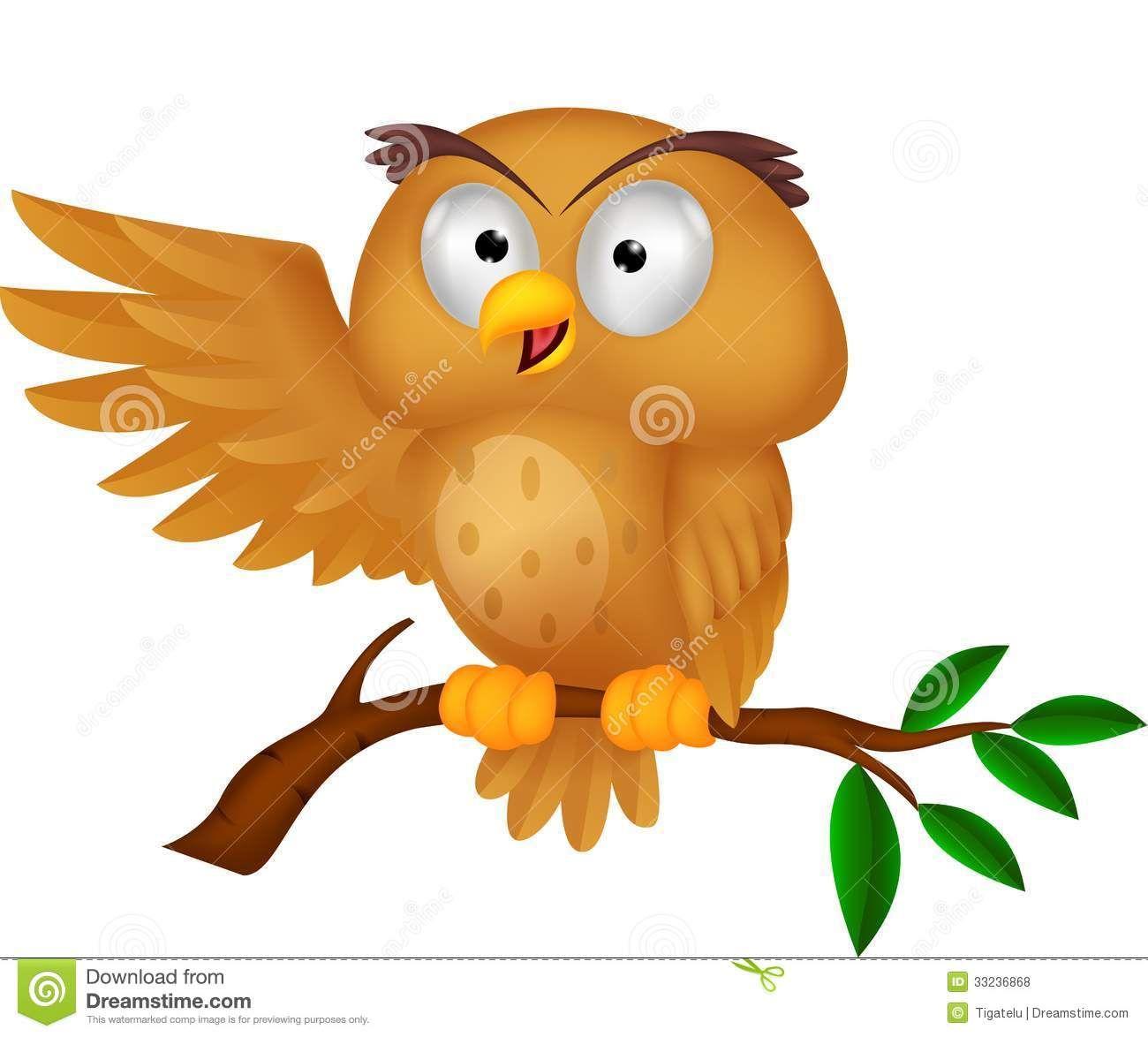 Cute Cartoon Owls   Cute Owl Cartoon Waving Royalty Free ...