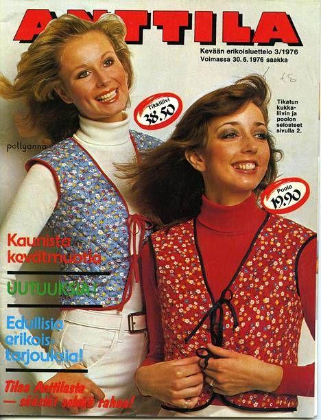 Vuoden 1976 katalogin kannessa mainostettiin tikkiliivejä ja pooloja.