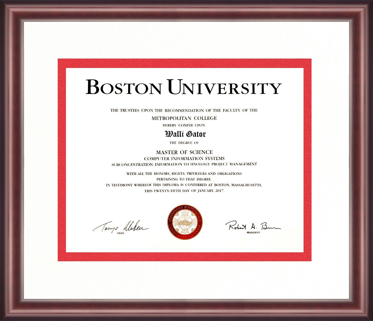 Boston university diploma frame talking walls diploma