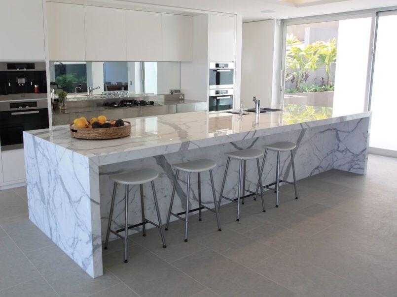 Interior, Elegant White Calacatta Marble Kitchen Island