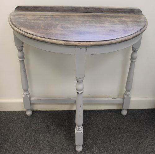 Shabby Chic Half Moon Chalk Painted Grey Wooden Console Table More
