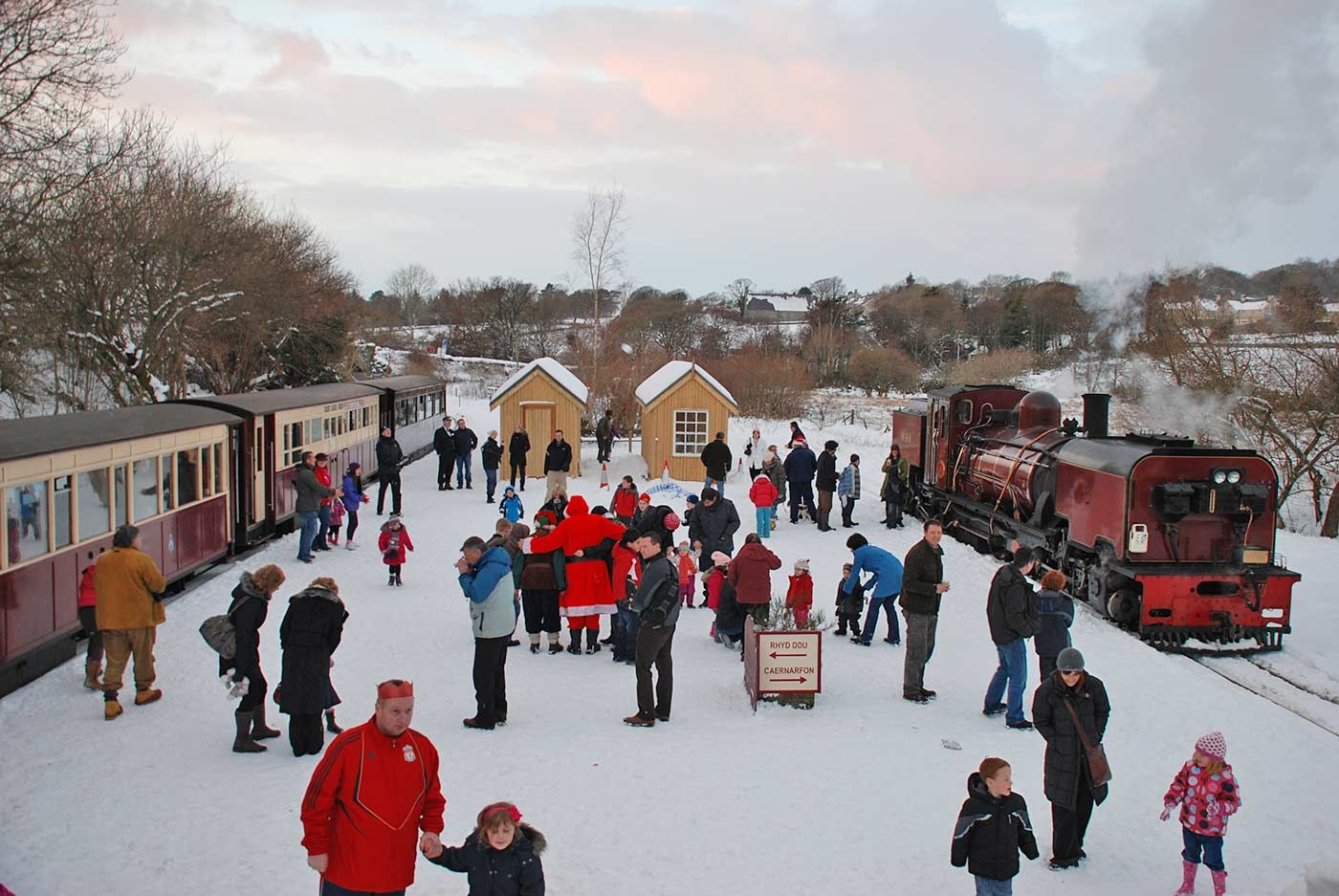 Christmas at Waunfawr as a Santa train stands in the platform
