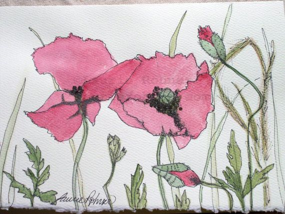 Red Poppies Watercolor Botanical Nature Art by BetweenTheWeeds