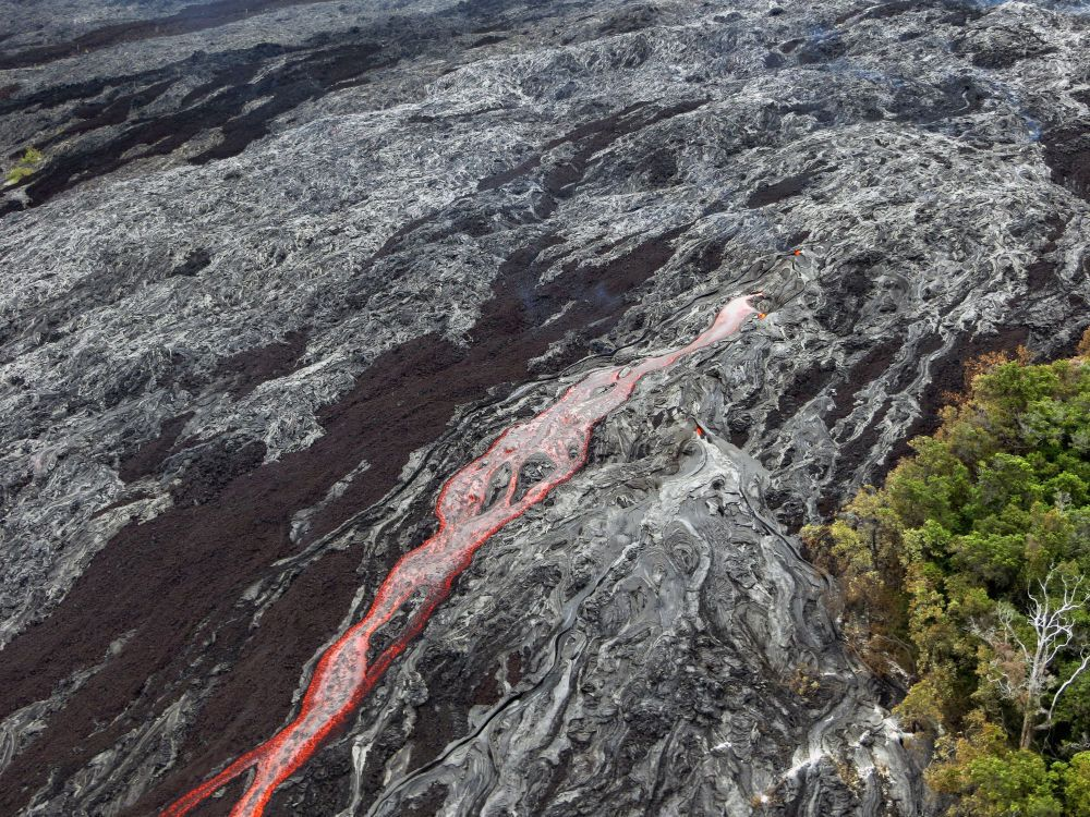 Meandering channels of fresh lava - Hawaii