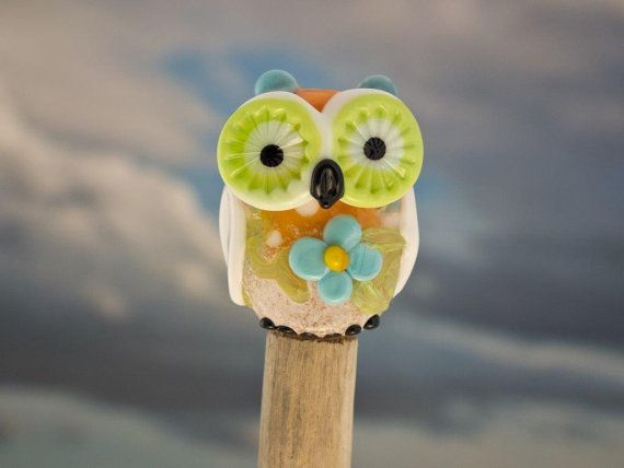 Tulip lampwork owl bead   sra by DeniseAnnette on Etsy, $18.00