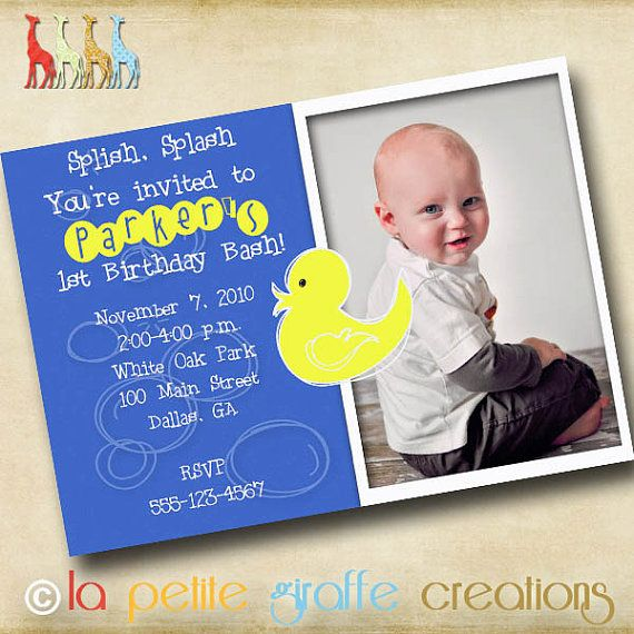 Photo birthday invitation lucky ducky blue melissa pinterest photo birthday invitation lucky ducky blue filmwisefo Image collections