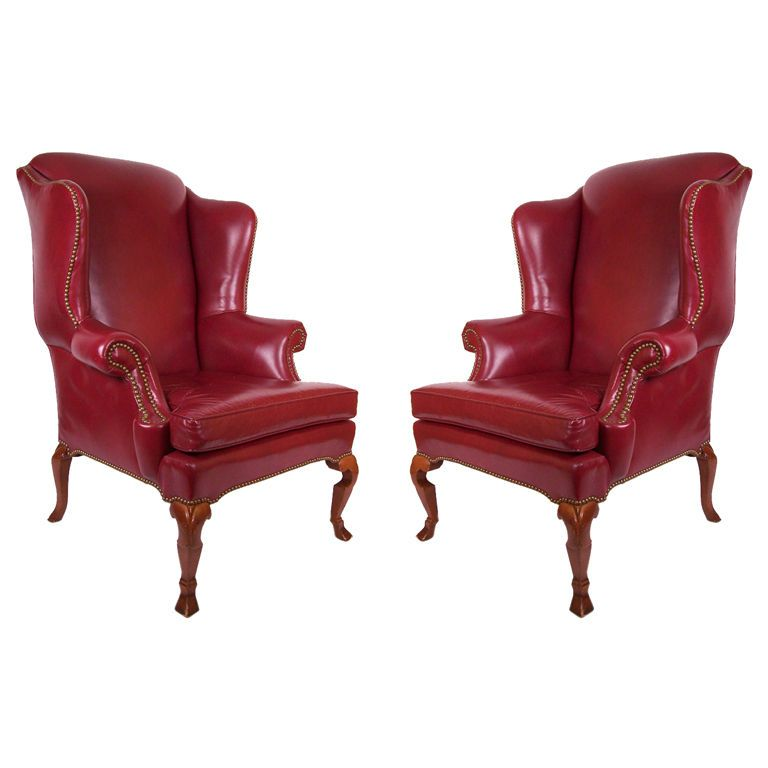 Merveilleux Pair Of Dark Red Leather Wing Chairs