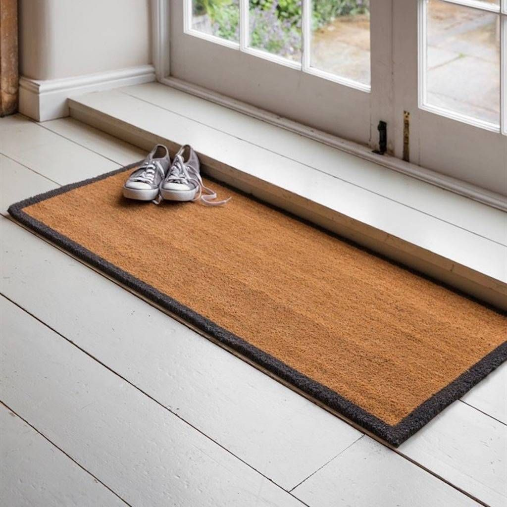 Double Natural Doormat With Border is part of Contemporary Home Accessories French Doors - This Doormat offers generoussize and durability  Minimal in design the Charcoal border adds that finishing touch, making it suitable for a range of homes Crafted from natural Coir this can mean some coir pith is visible yet this doesn't affect the functionality of the doormat  Supplied with a vinyl backing the doormat is designed for use indoors only and should be swept or vacuumed to clean Crafted in Coir Includes Vinyl backDimensions H1 5 x W125 x D55cm