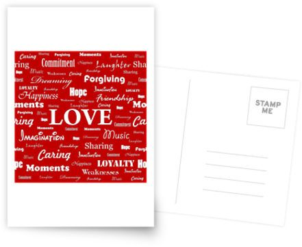 """Love is Red & White"" Postcard by George Barakoukakis. Dims: 100mmx150mm. 300gsm card with a satin finish. Superior writing surface for your words of wisdom. Discount of 20% on every order of 8+ cards"