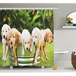 Golden Retriever Shower Curtains Dog Lover Decor Dog Shower