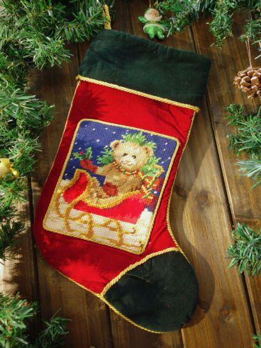 Needlepoint Christmas Stocking Little Teddy Bear On Sledge