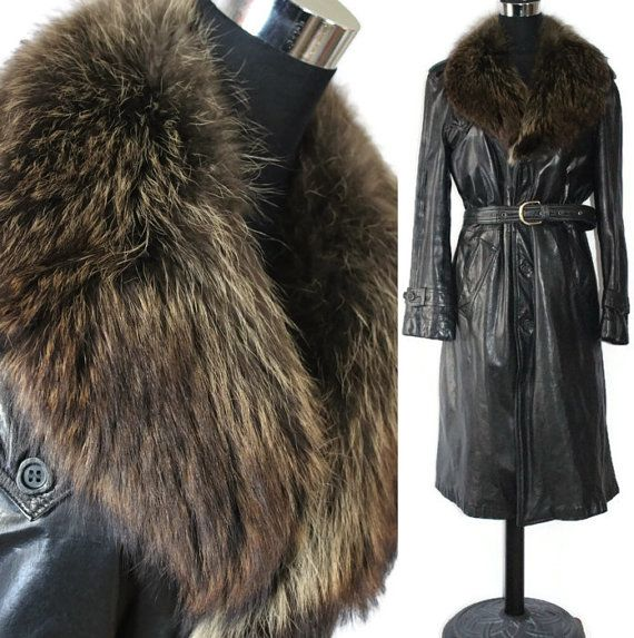 Vintage leather Jacket 70s Raccoon Fur by GrandmaHadItGoinOn, $189.00