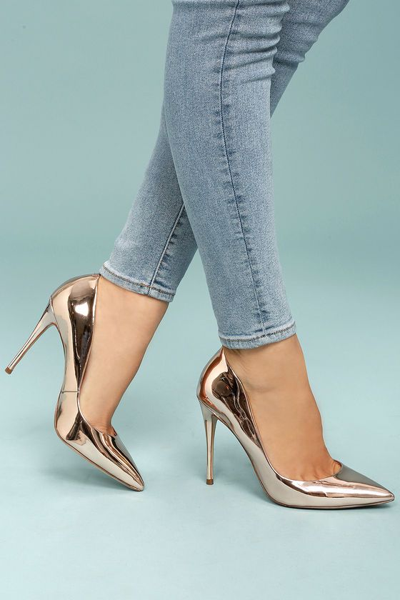 Daisie Rose Gold Patent Pumps