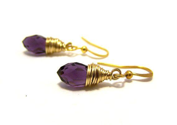Purple Amethyst Swarovski Crystal Teardrop Gold by CYDesignStudio,