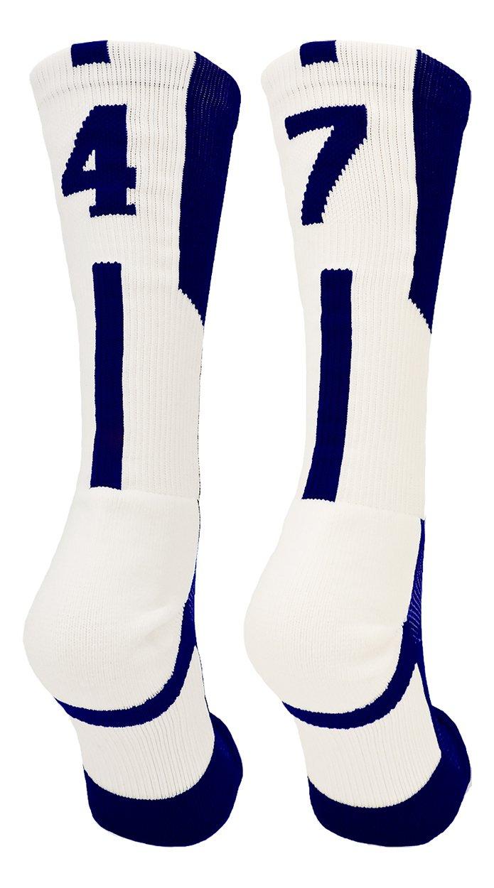 Player Id Navy White Number Crew Socks Pair Basketball Shorts Girls Crew Socks Softball Socks