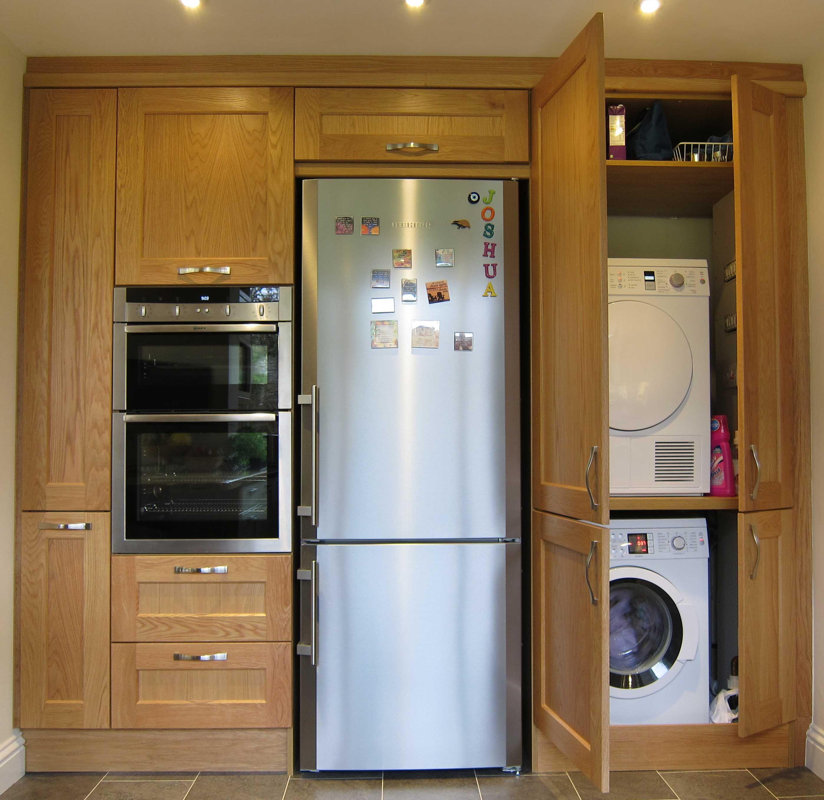 Washing Machine In Kitchen Design: Tumble Dryer On Top Of Washing Machine
