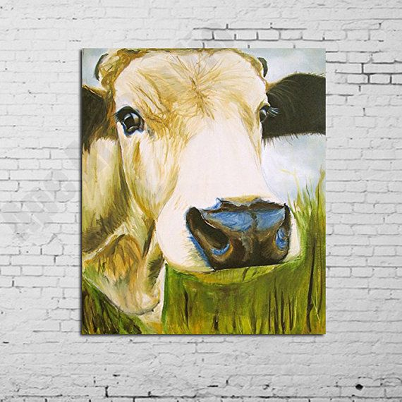 Cow oil painting on canvasfarm animal artlarge cow by ApeArtStudio ...