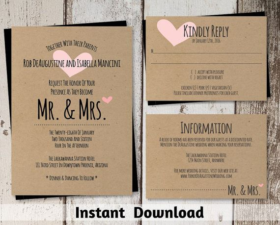 Mr U0026 Mrs Wedding Invitation Template   Printable Set   Rustic Hearts, Kraft  Paper   Download PDF File Suite   Pink Teal Navy Lavender Etc