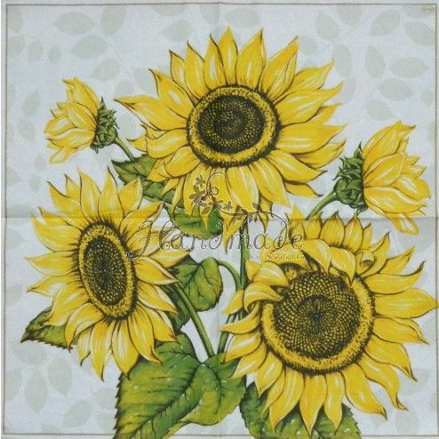 FLOWERS TWO Individual Paper Luncheon Decoupage Napkins SUNFLOWERS 470