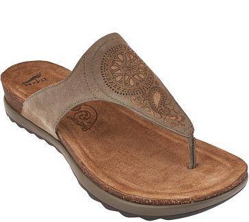 e5ec180ed Dansko Patterned Leather Thong Sandals -Priya - A265926 — QVC.com