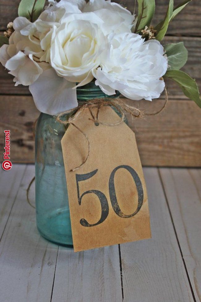 50th Wedding Anniversay / Rustic Birthday Party Decor / Kraft Paper 50 Table Centerpiece / 50 Birthday Decorations / Rustic 50t… #50thbirthdaypartydecorations