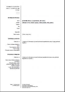 Modulo X Curriculum Vitae Europeo Nel 2020 Programma Scolastico Curriculum Vitae Modello Curriculum