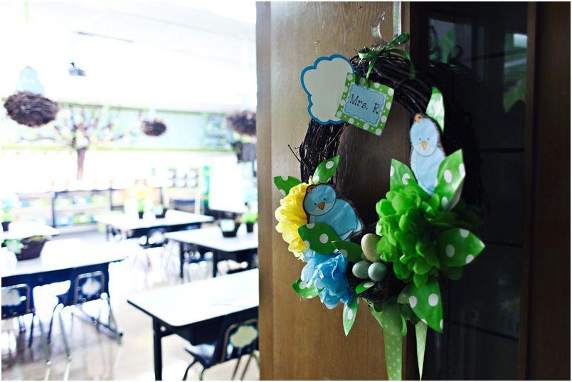 Classroom Decor Birds ~ What a sweet welcoming wreath on my classroom door
