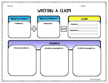 Writing A Claim Editable Graphic Organizer Color And B W