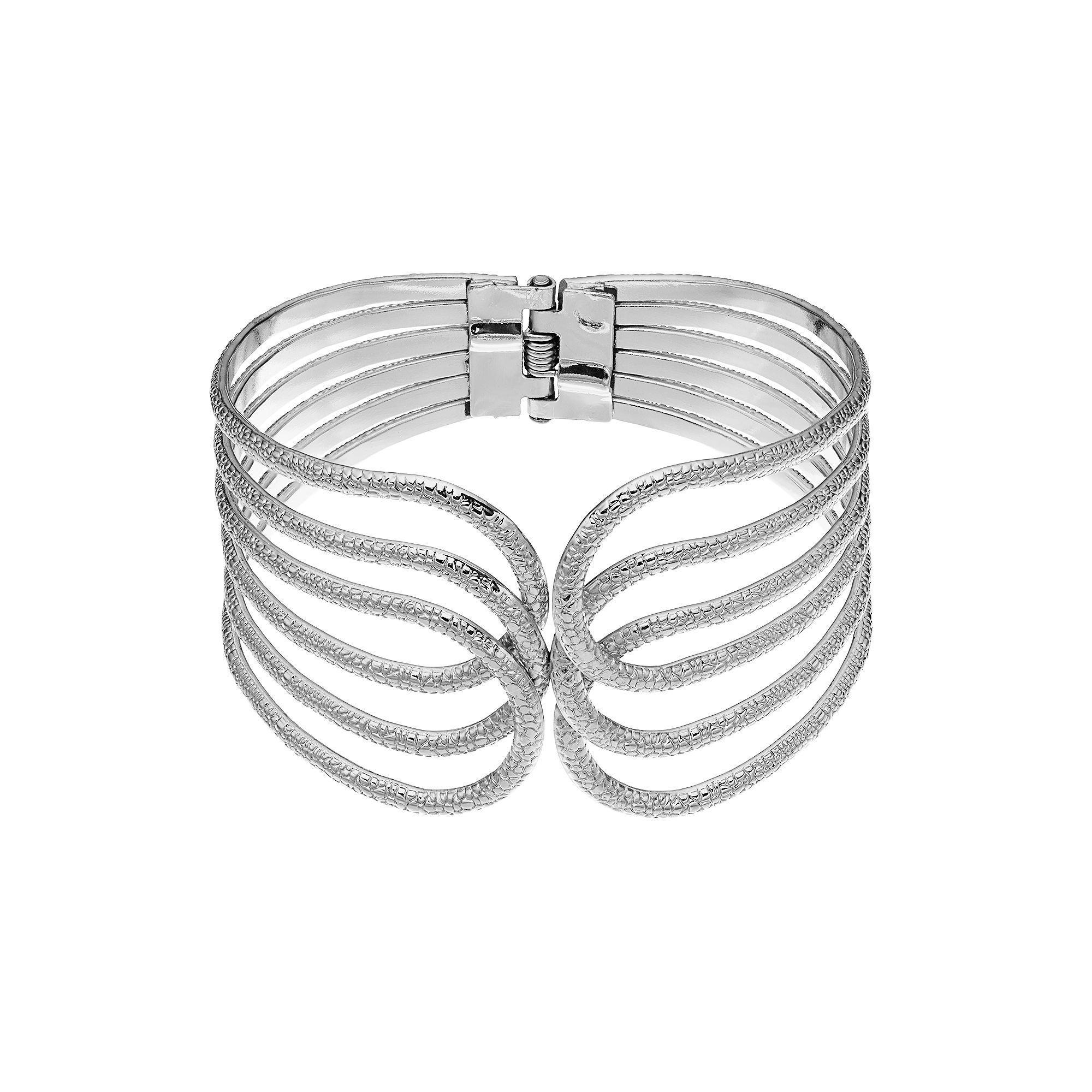 Plus size textured openwork bangle bracelet womenus silver