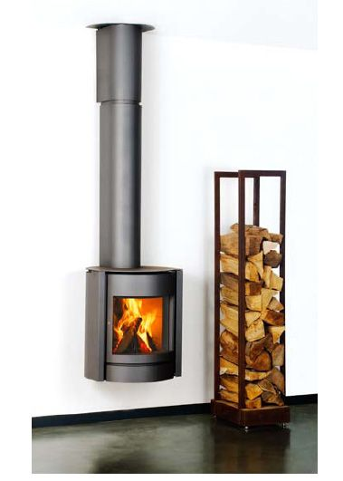 Elegant And Small Vertical Storage For Firewood Next To