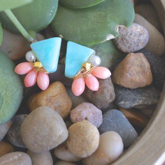 Asymmetrical earrings  Blue opal & coral earrings  by EshaNewYork