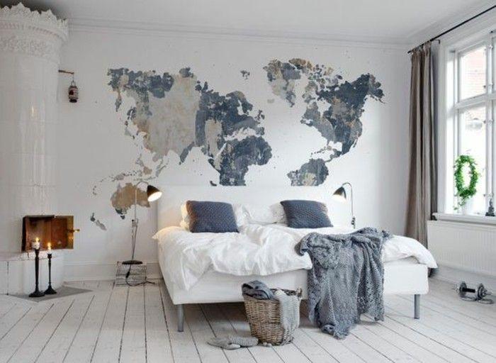 Deko Ideen Schlafzimmer Erdteilen Weisses Bett Boden Aus Holz