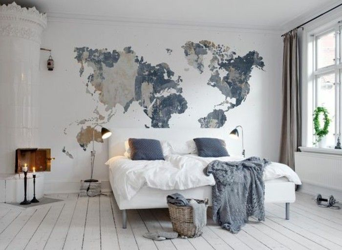 deko ideen schlafzimmer erdteilen weisses bett boden aus holz - schlafzimmer dekorieren ideen