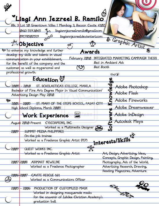 Freelance Graphic Designer Resume Liagi Ann Jezreel Creative Resume Inspiration  Good Ideas .