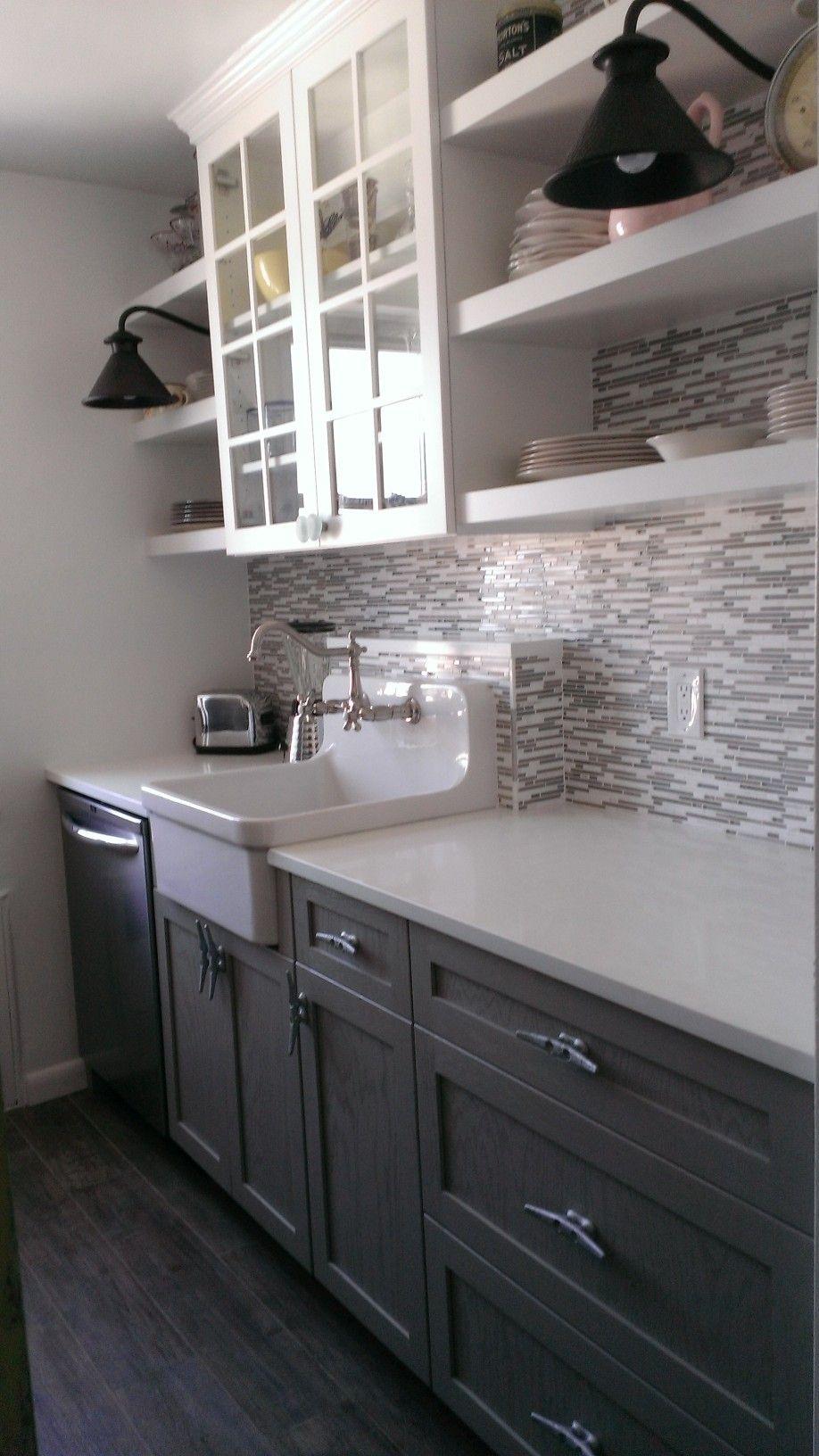White Quartz Counter Tops Open Shelving Tile Floors Farmhouse Sink Diy Countertops