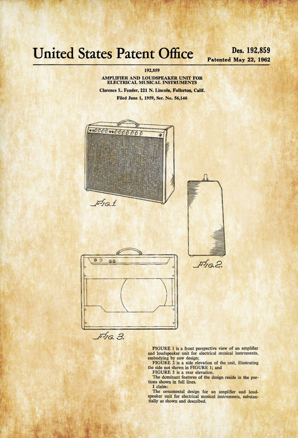 Fender Amplifier Patent 1962 – Patent Print, Wall Decor, Music ...