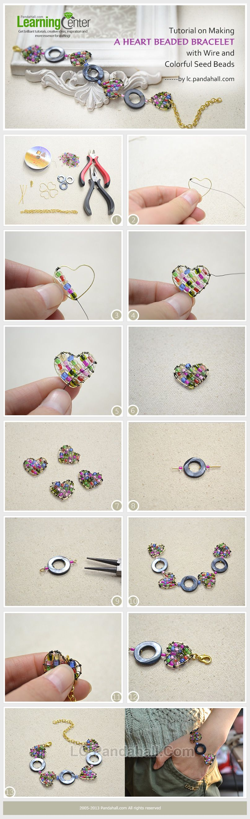 Tutorial on Making a Heart Beaded Bracelet with Wire and Colorful ...