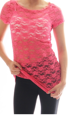 Coral Floral Lace Short Sleeve