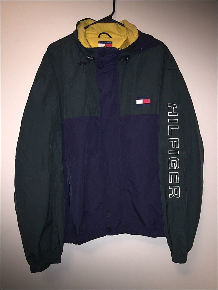 tommy hilfiger colorblock windbreaker blue green white